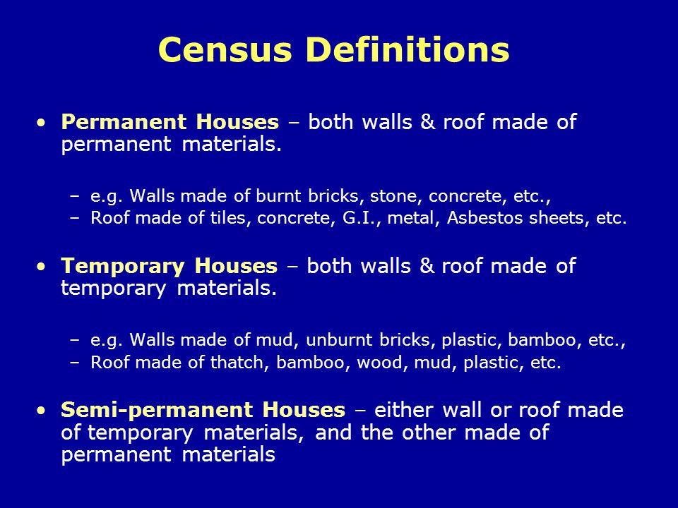 Temporary Houses in Tamil Nadu – Census 2001 23% of households in Tamil Nadu live in temporary houses All India average – 18% Rural TN – 33% (1/3 rd ) Urban TN – 10% (1/10 th )