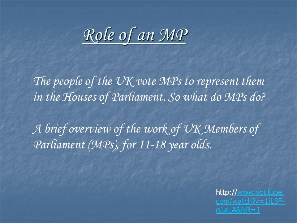 Role of an MP http://www.youtube. com/watch v=1iL3F- q1aLA&NR=1www.youtube.