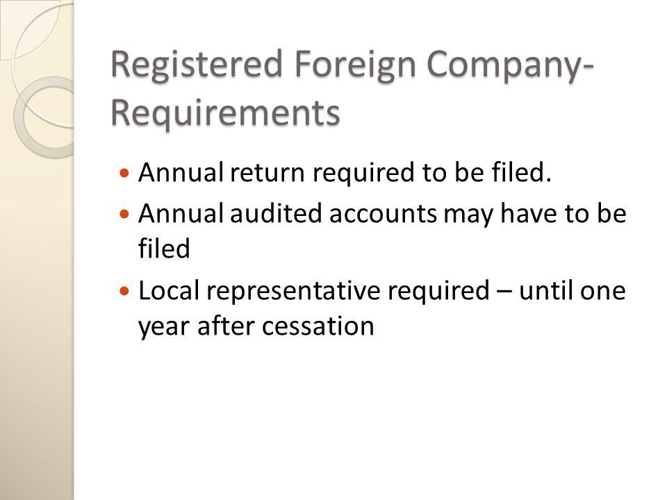 Registered Foreign Company- Requirements Annual return required to be filed.