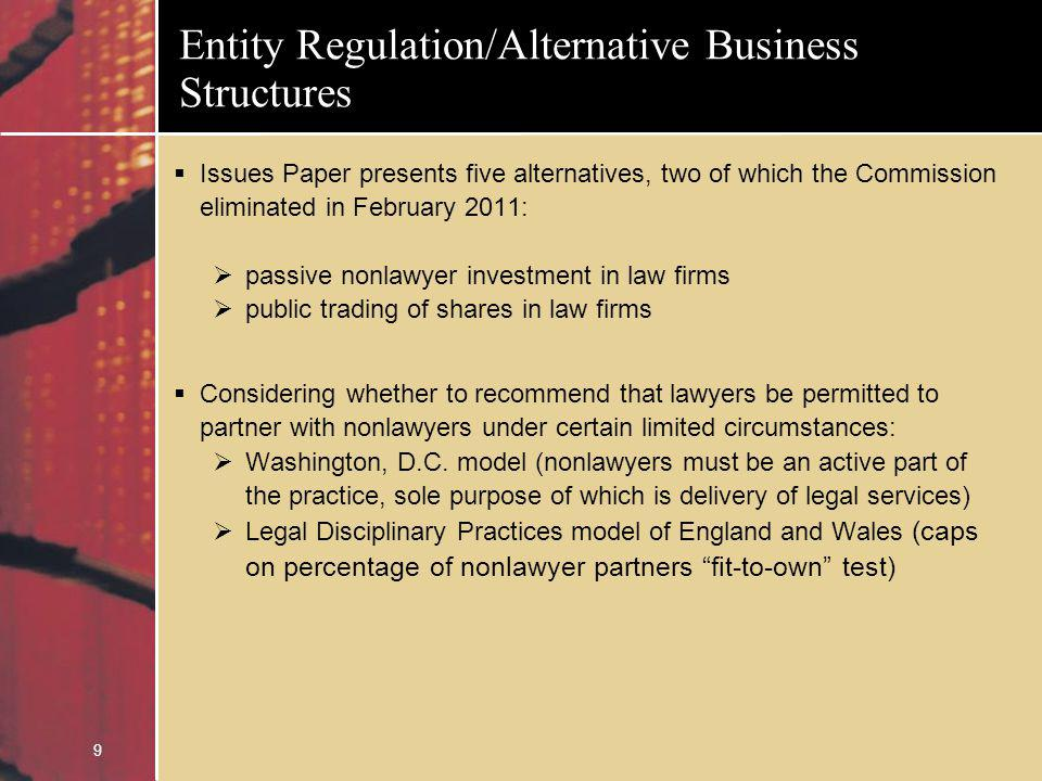 10 Entity Regulation/Alternative Business Structures Key Questions: Are there client services that U.S.