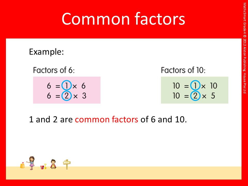 Maths Smart Grade 4 © 2012 Alston Publishing House Pte Ltd Example: 1 and 2 are common factors of 6 and 10.
