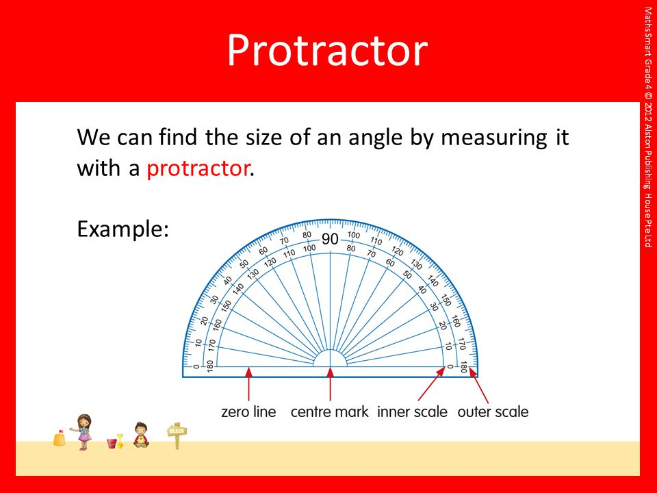 Maths Smart Grade 4 © 2012 Alston Publishing House Pte Ltd We can find the size of an angle by measuring it with a protractor. Example:
