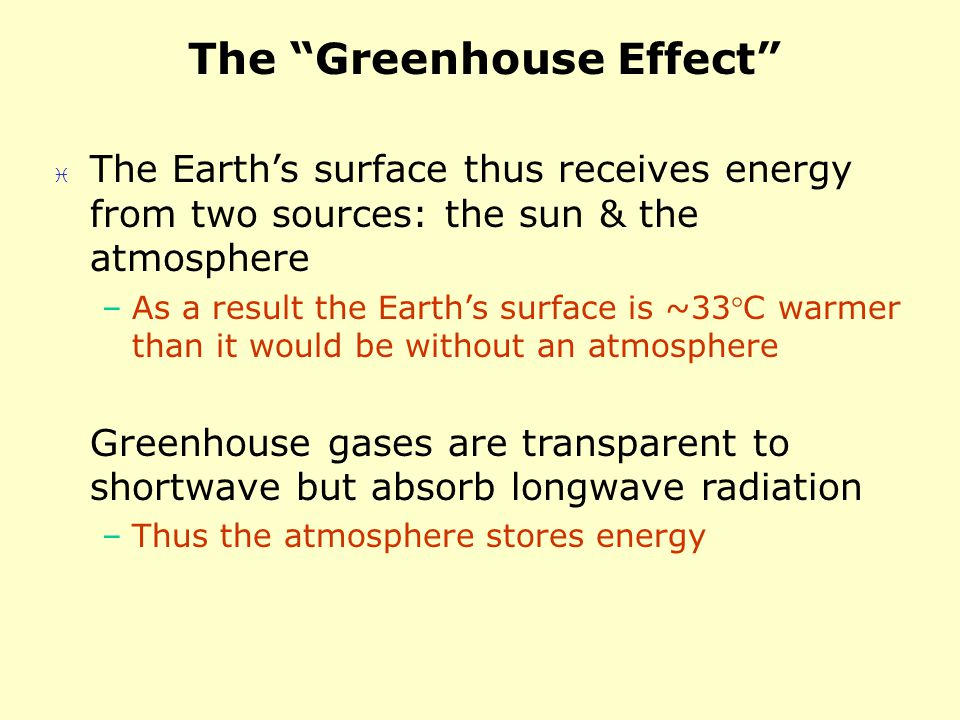 The Greenhouse Effect The Earths surface thus receives energy from two sources: the sun & the atmosphere –As a result the Earths surface is ~33C warmer than it would be without an atmosphere Greenhouse gases are transparent to shortwave but absorb longwave radiation –Thus the atmosphere stores energy