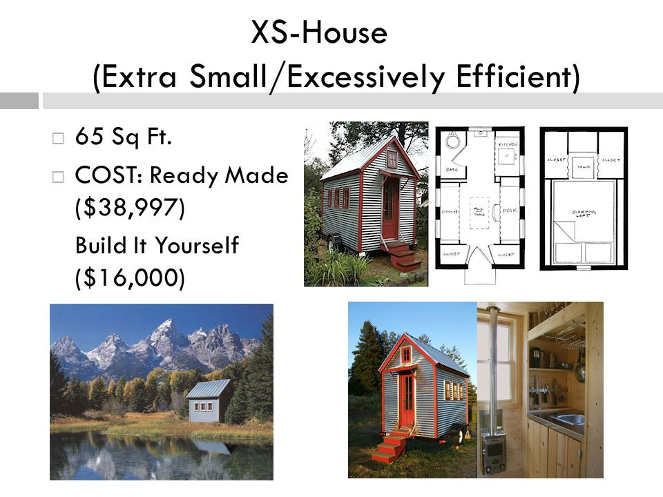 XS-House (Extra Small/Excessively Efficient) 65 Sq Ft.