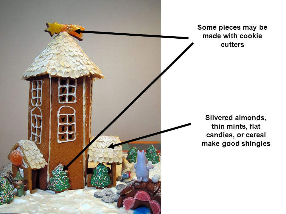 Slivered almonds, thin mints, flat candies, or cereal make good shingles Some pieces may be made with cookie cutters
