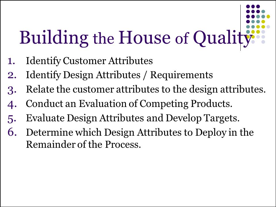 Building the House of Quality 1. Identify Customer Attributes 2. Identify Design Attributes / Requirements 3. Relate the customer attributes to the de