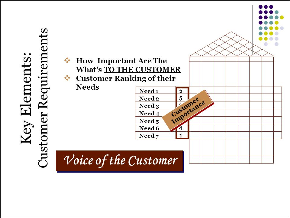 55342415534241 Key Elements: Customer Requirements Voice of the Customer How Important Are The Whats TO THE CUSTOMER Customer Ranking of their Needs C
