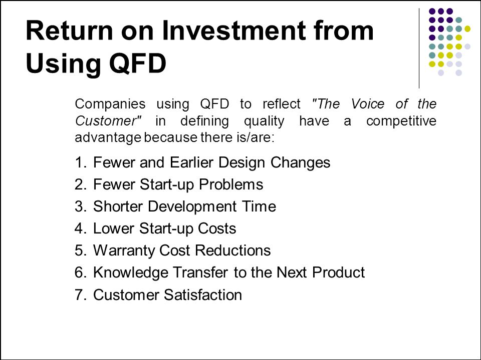 Return on Investment from Using QFD Companies using QFD to reflect