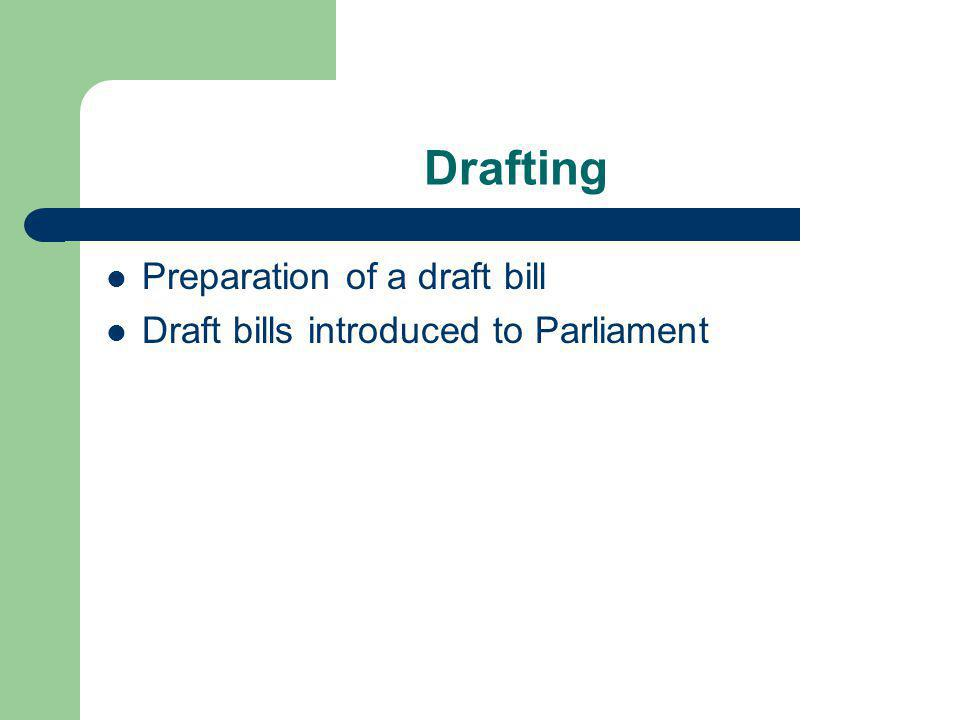 Drafting Preparation of a draft bill Draft bills introduced to Parliament