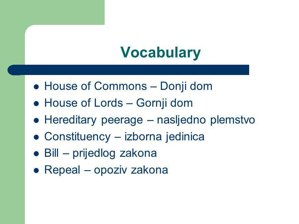 Vocabulary House of Commons – Donji dom House of Lords – Gornji dom Hereditary peerage – nasljedno plemstvo Constituency – izborna jedinica Bill – pri