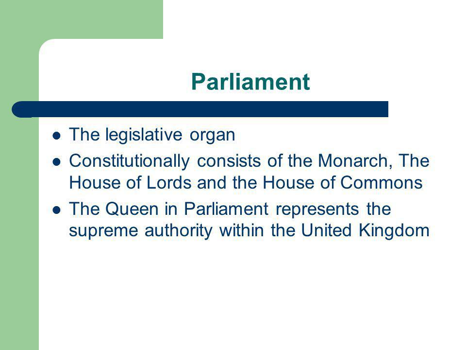 Parliament The legislative organ Constitutionally consists of the Monarch, The House of Lords and the House of Commons The Queen in Parliament represe