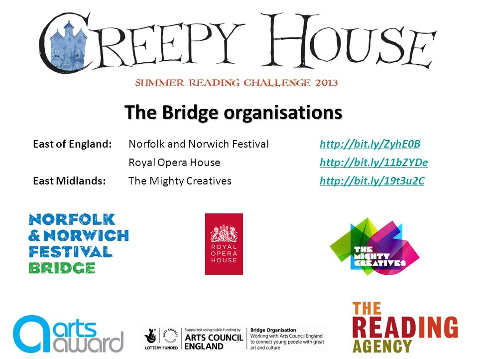 The Bridge organisations East of England:Norfolk and Norwich Festivalhttp://bit.ly/ZyhE0Bhttp://bit.ly/ZyhE0B Royal Opera Househttp://bit.ly/11bZYDehttp://bit.ly/11bZYDe East Midlands:The Mighty Creativeshttp://bit.ly/19t3u2Chttp://bit.ly/19t3u2C
