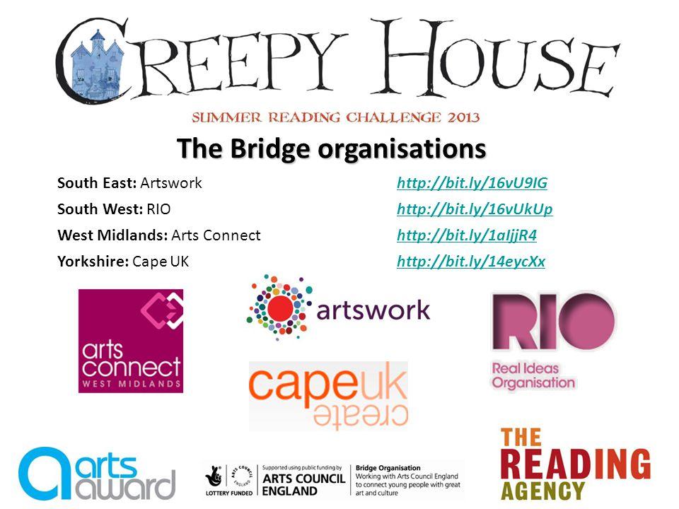 The Bridge organisations South East: Artsworkhttp://bit.ly/16vU9IGhttp://bit.ly/16vU9IG South West: RIOhttp://bit.ly/16vUkUphttp://bit.ly/16vUkUp West