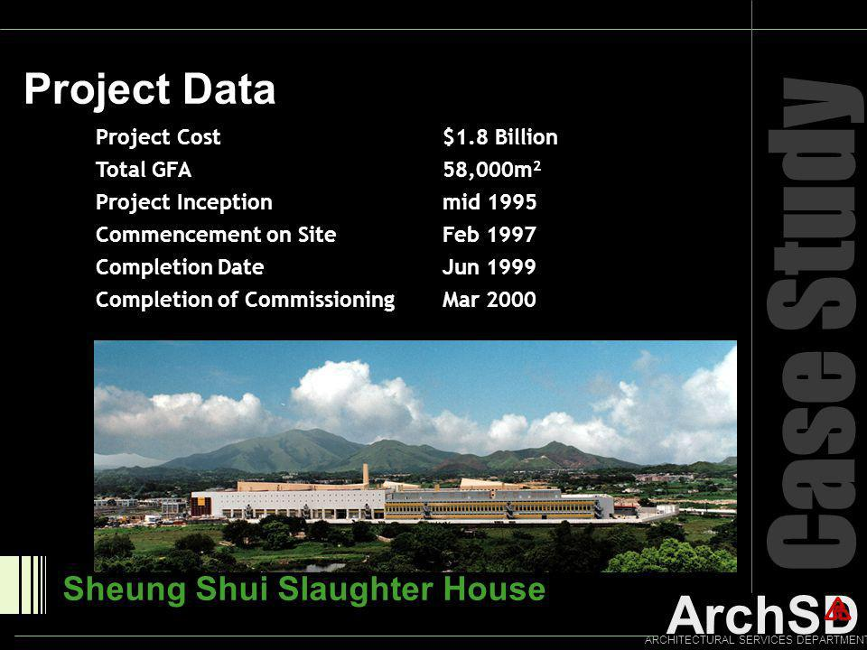 ArchSD ARCHITECTURAL SERVICES DEPARTMENT Case Study Project Data Sheung Shui Slaughter House Project Cost $1.8 Billion Total GFA58,000m 2 Project Ince