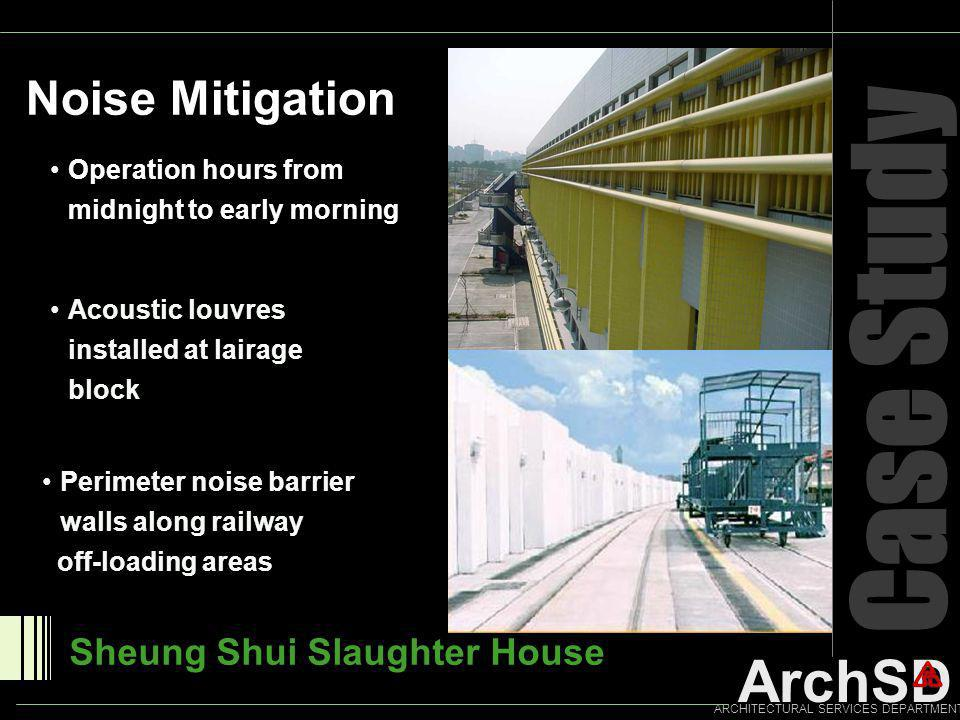 ArchSD ARCHITECTURAL SERVICES DEPARTMENT Case Study Noise Mitigation Sheung Shui Slaughter House Operation hours from midnight to early morning Acoust