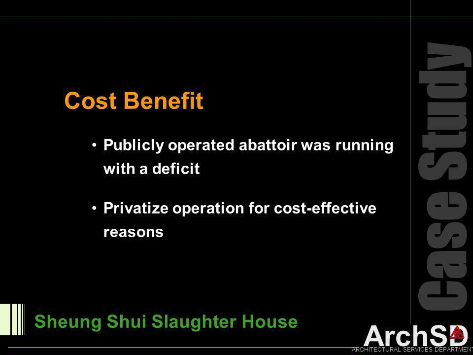 ArchSD ARCHITECTURAL SERVICES DEPARTMENT Case Study Sheung Shui Slaughter House Publicly operated abattoir was running with a deficit Privatize operat