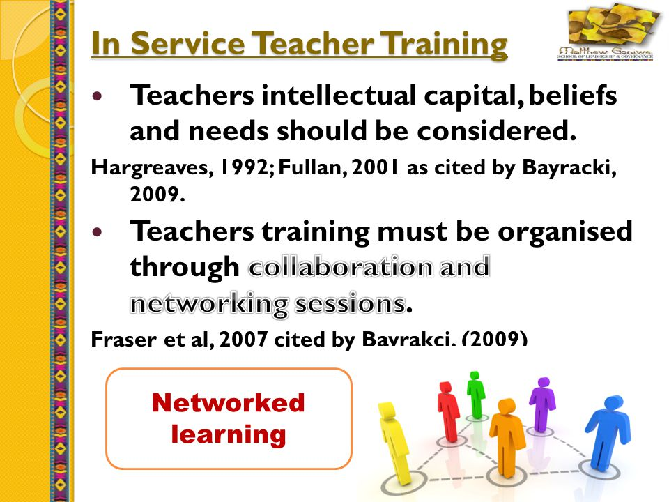 15 In Service Teacher Training Networked learning