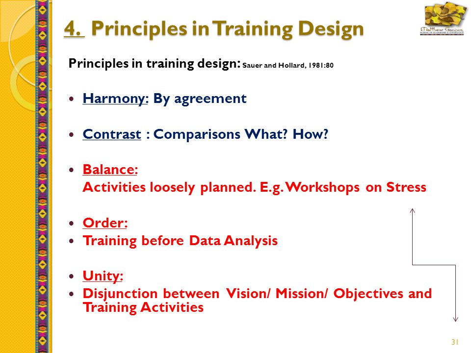 31 4. Principles in Training Design Principles in training design : Sauer and Hollard, 1981:80 Harmony: By agreement Contrast : Comparisons What? How?