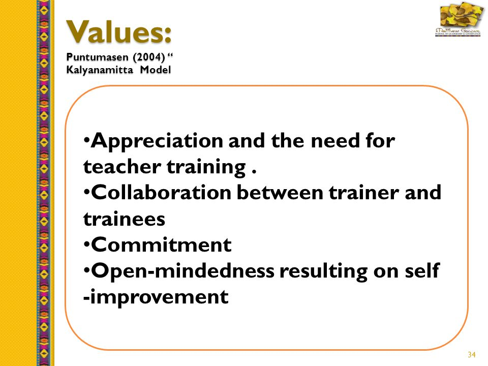 34 Values: Puntumasen (2004) Kalyanamitta Model Appreciation and the need for teacher training.