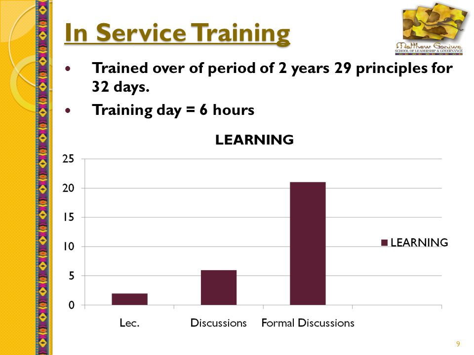 9 In Service Training Trained over of period of 2 years 29 principles for 32 days.