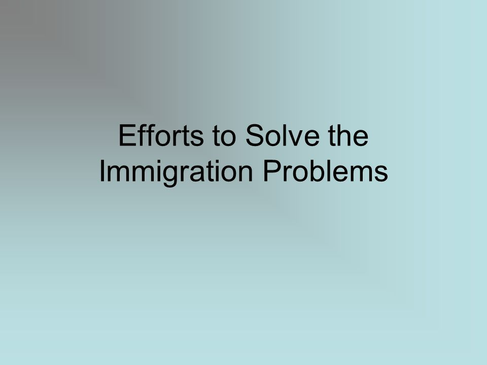 Efforts to Solve the Immigration Problems