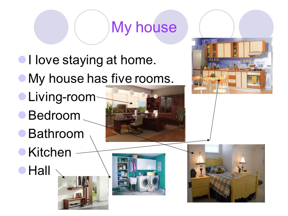 My house I love staying at home. My house has five rooms. Living-room Bedroom Bathroom Kitchen Hall