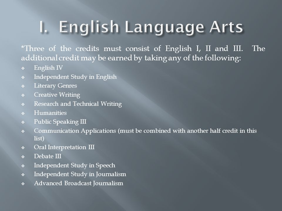*Three of the credits must consist of English I, II and III.