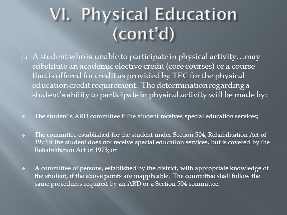 G) A student who is unable to participate in physical activity…may substitute an academic elective credit (core courses) or a course that is offered for credit as provided by TEC for the physical education credit requirement.