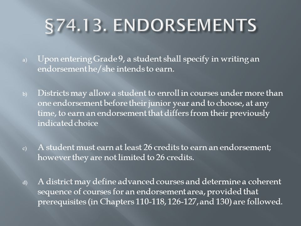 a) Upon entering Grade 9, a student shall specify in writing an endorsement he/she intends to earn.