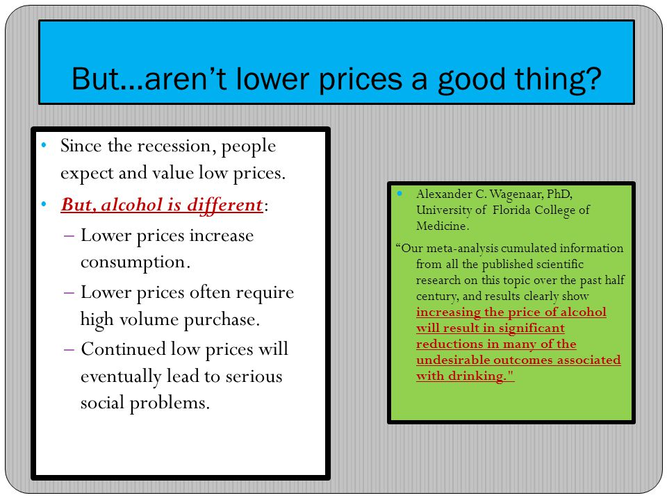 But…arent lower prices a good thing. Since the recession, people expect and value low prices.