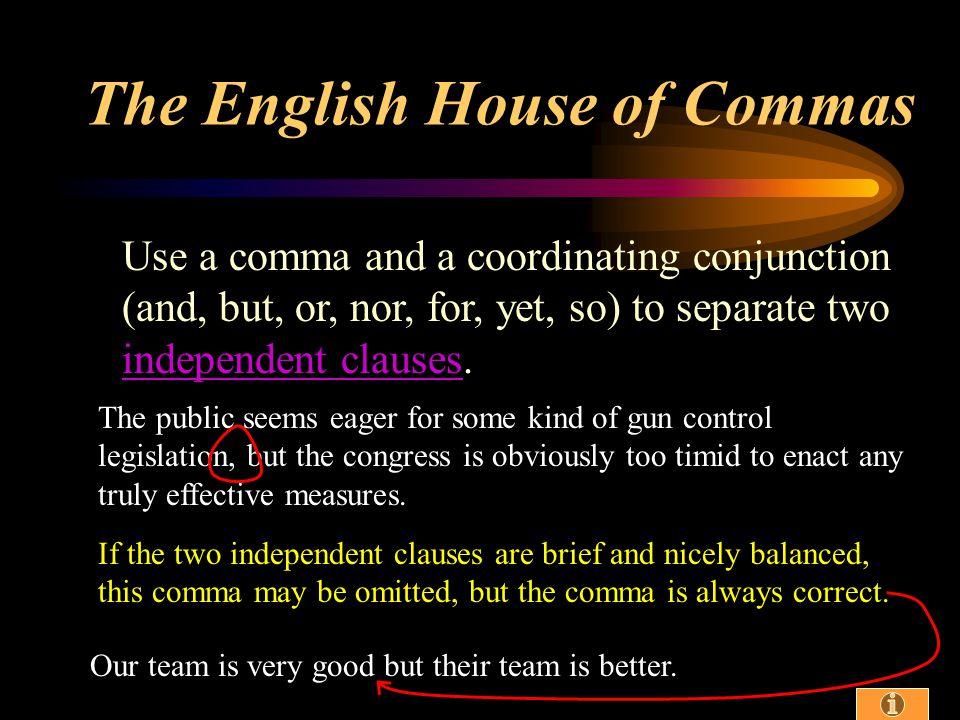 Use a comma to set off the elements of a series (three or more things), including the last two.