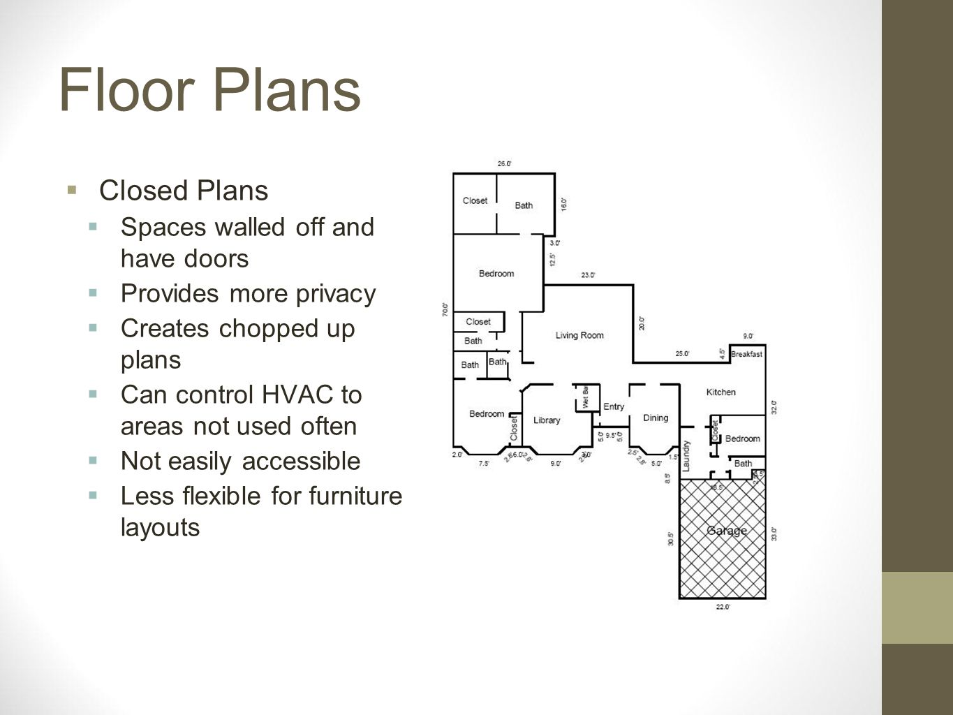 Floor Plans Closed Plans Spaces walled off and have doors Provides more privacy Creates chopped up plans Can control HVAC to areas not used often Not