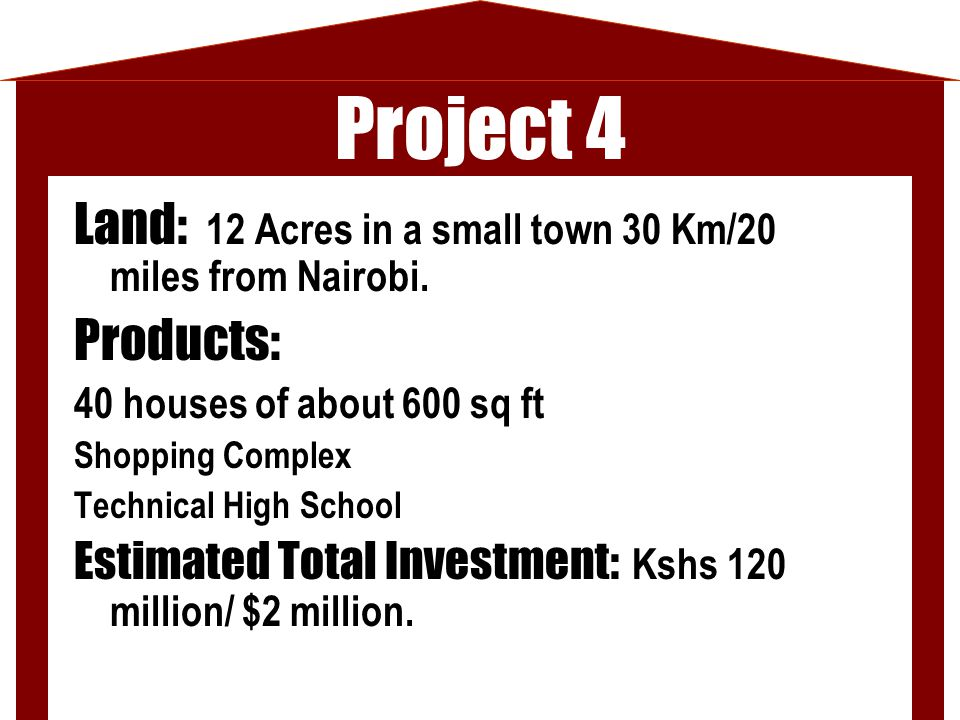 Project 4 Land: 12 Acres in a small town 30 Km/20 miles from Nairobi. Products: 40 houses of about 600 sq ft Shopping Complex Technical High School Es
