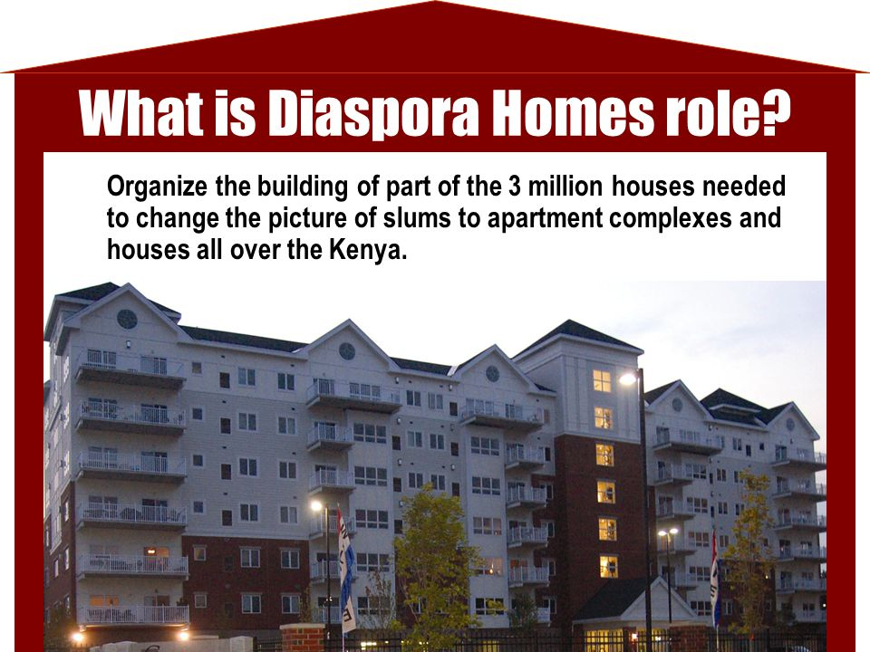 What is Diaspora Homes role? Organize the building of part of the 3 million houses needed to change the picture of slums to apartment complexes and ho