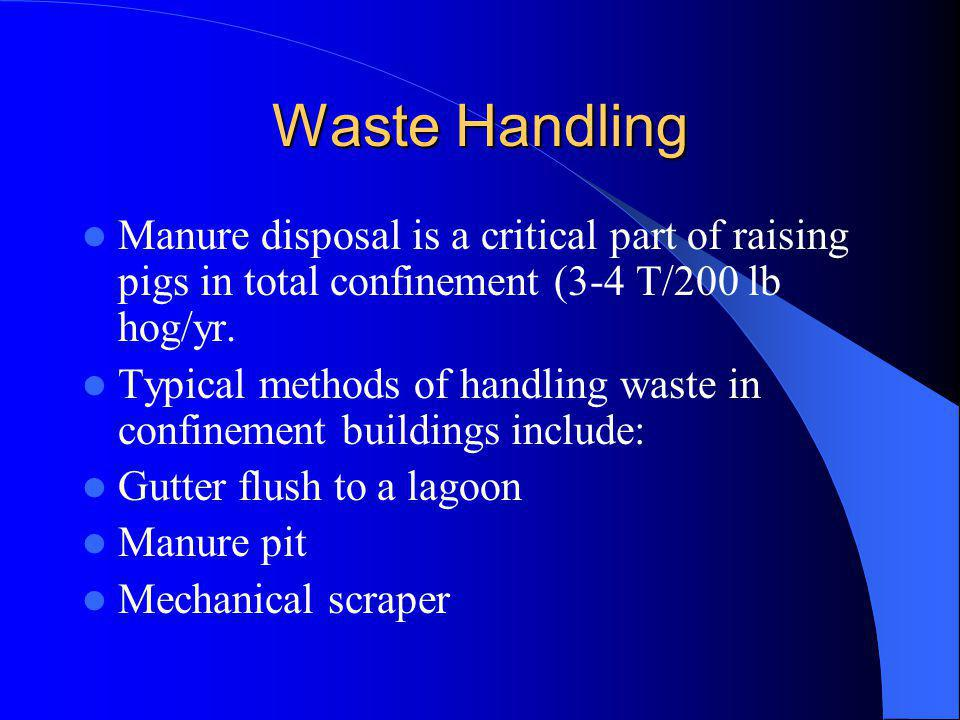 Waste Handling Manure disposal is a critical part of raising pigs in total confinement (3-4 T/200 lb hog/yr.