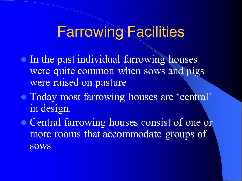 Farrowing Facilities In the past individual farrowing houses were quite common when sows and pigs were raised on pasture Today most farrowing houses a
