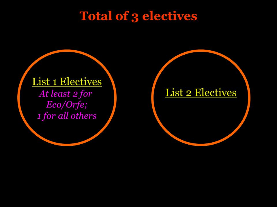 List 1 Electives At least 2 for Eco/Orfe; 1 for all others List 2 Electives Total of 3 electives