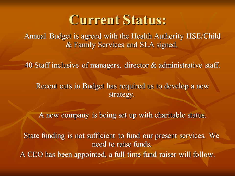 Current Status: Annual Budget is agreed with the Health Authority HSE/Child & Family Services and SLA signed.