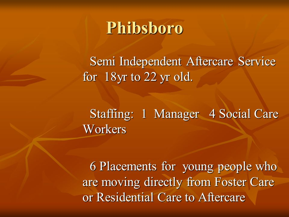 Phibsboro Semi Independent Aftercare Service for 18yr to 22 yr old. Staffing: 1 Manager 4 Social Care Workers 6 Placements for young people who are mo