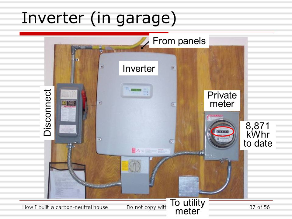 How I built a carbon-neutral houseDo not copy without permission37 of 56 Inverter (in garage) From panels Disconnect Inverter Private meter To utility meter 8,871 kWhr to date