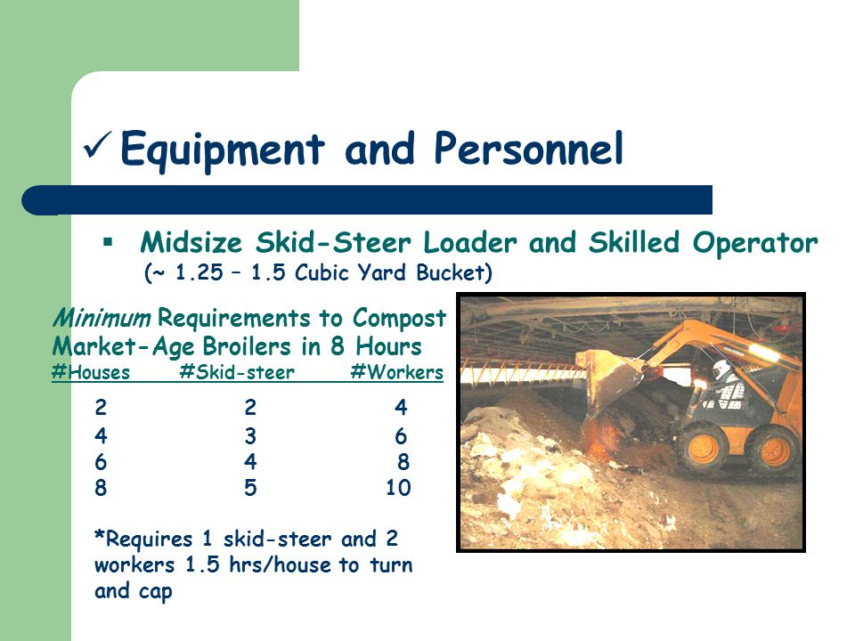 Midsize Skid-Steer Loader and Skilled Operator (~ 1.25 – 1.5 Cubic Yard Bucket) Equipment and Personnel Minimum Requirements to Compost Market-Age Broilers in 8 Hours #Houses#Skid-steer#Workers 2 2 4 4 3 6 6 4 8 8 5 10 *Requires 1 skid-steer and 2 workers 1.5 hrs/house to turn and cap