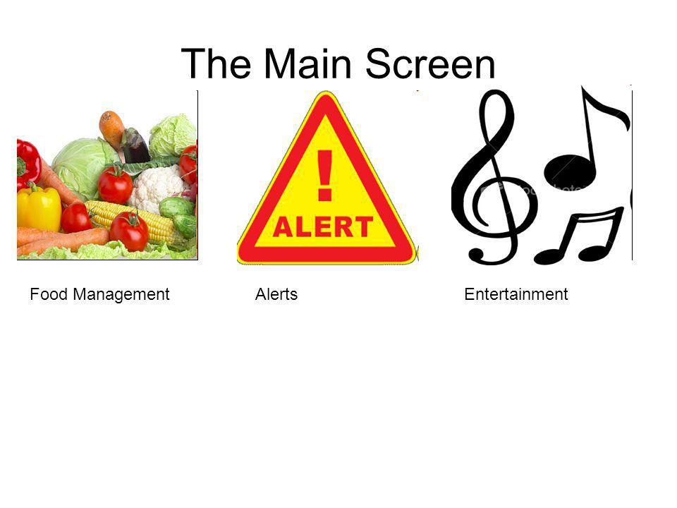 Food ManagementAlertsEntertainment The Main Screen