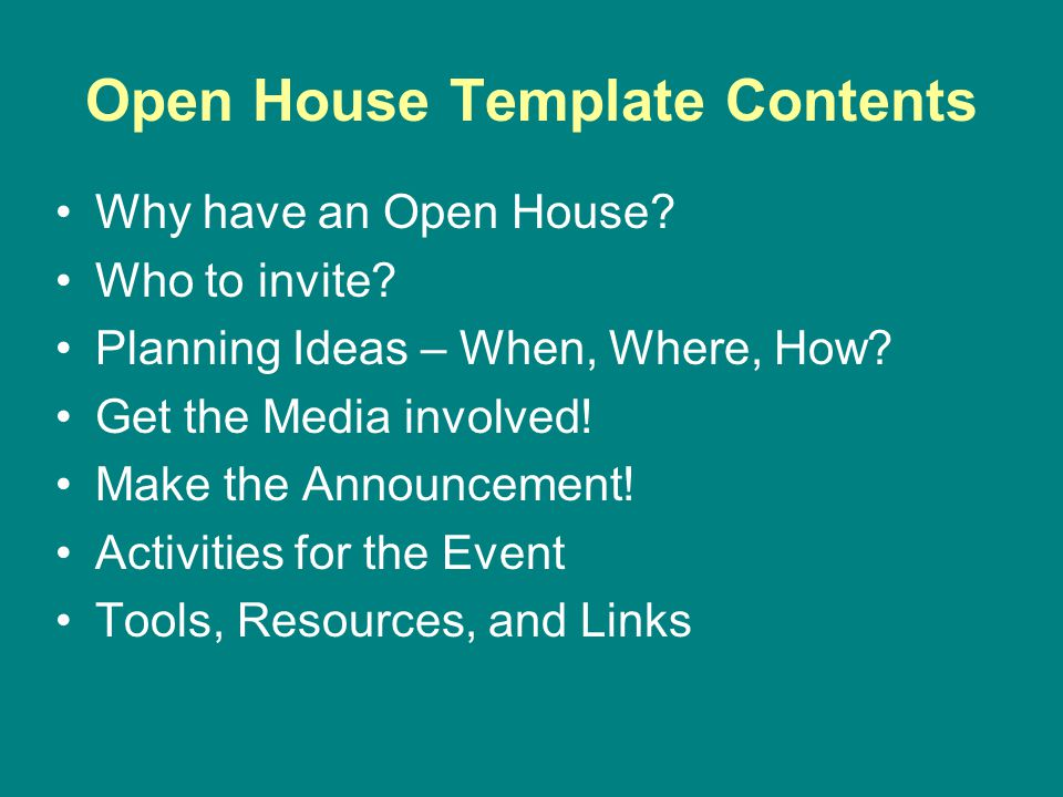 Open House Template Contents Why have an Open House.