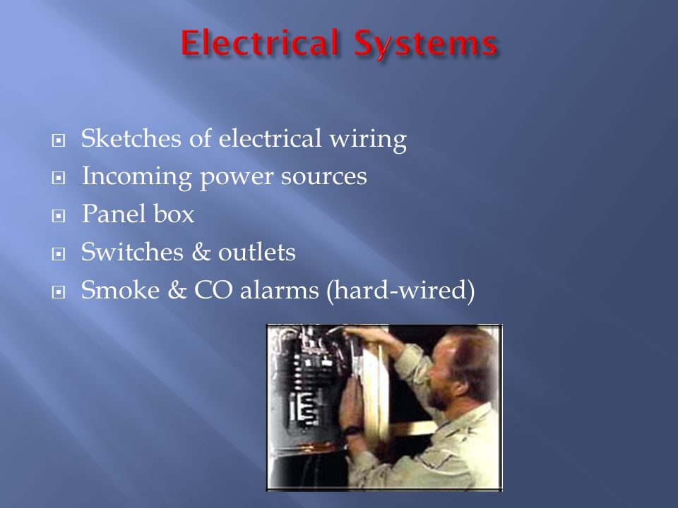 Sketches of electrical wiring Incoming power sources Panel box Switches & outlets Smoke & CO alarms (hard-wired)