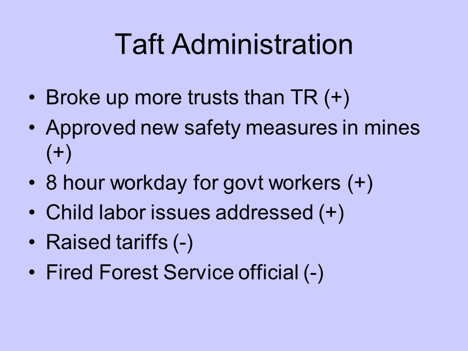 Taft Administration Broke up more trusts than TR (+) Approved new safety measures in mines (+) 8 hour workday for govt workers (+) Child labor issues