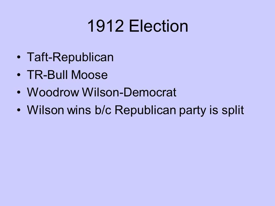 1912 Election Taft-Republican TR-Bull Moose Woodrow Wilson-Democrat Wilson wins b/c Republican party is split
