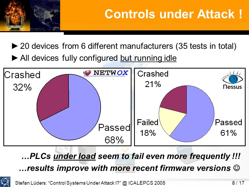 Stefan Lüders: Control Systems Under Attack !. @ ICALEPCS 20058 / 17 Controls under Attack .