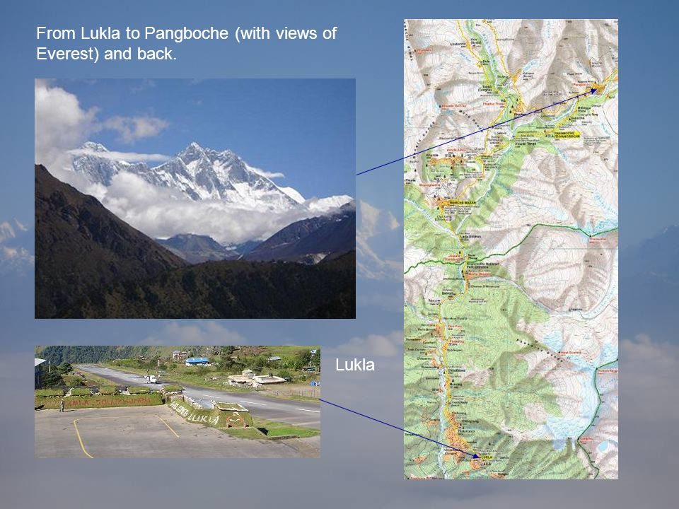 From Lukla to Pangboche (with views of Everest) and back. Lukla