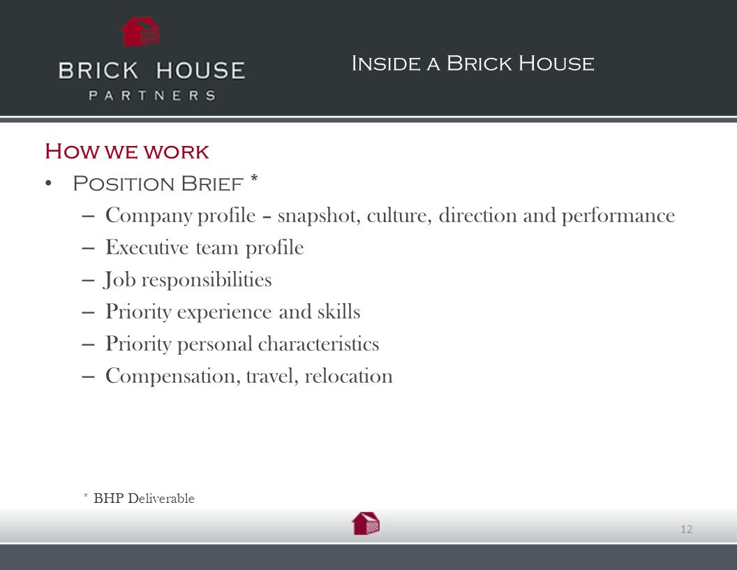 How we work Position Brief * – Company profile – snapshot, culture, direction and performance – Executive team profile – Job responsibilities – Priority experience and skills – Priority personal characteristics – Compensation, travel, relocation * BHP Deliverable Inside a Brick House 12