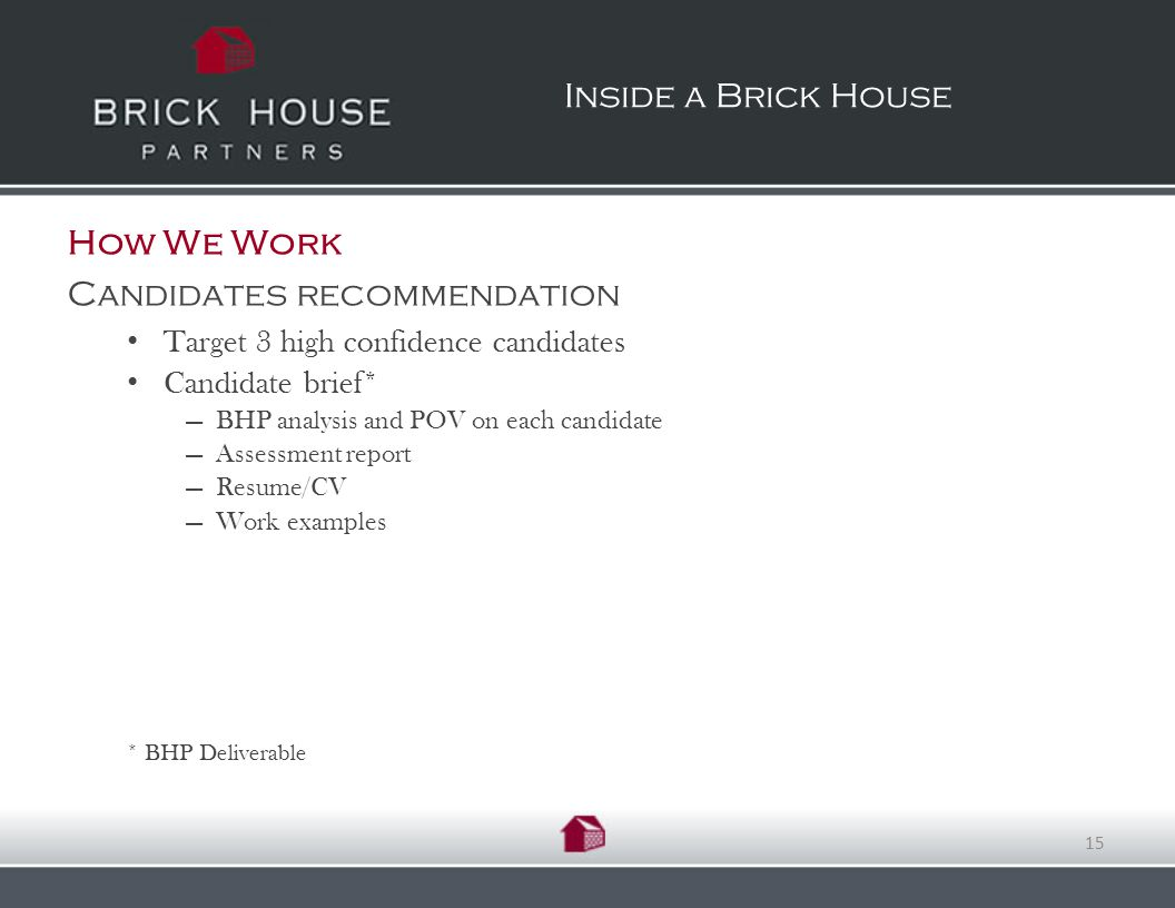 How We Work Candidates recommendation Target 3 high confidence candidates Candidate brief* BHP analysis and POV on each candidate Assessment report Resume/CV Work examples * BHP Deliverable Inside a Brick House 15